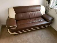 Brown and cream faux leather double sofa