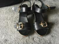 Ladies sandals black leather size 5/38 used good condition £4