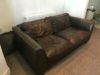 Leather Sofa 3-seat well used but comfy and Wardrobe