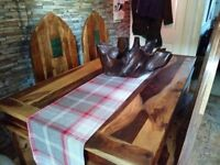 Dark wood dining table & 4 chairs