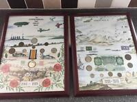 2 pictures with medals, coins and stamps