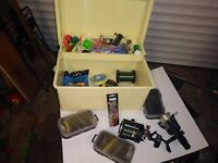 Fishing tackle reels and box
