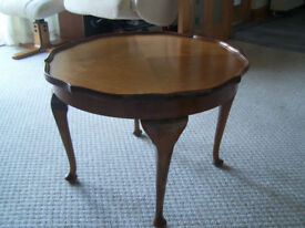 Vintage occasional table/Coffee table, quartered veneer top.
