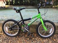 """BOYS BIKE FOR SALE - GREEN AND BLACK 16"""" PROBIKE T-REX - VERY GOOD CONDITION"""