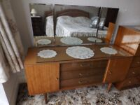 Vintage Dressing Table and chest of drawers High gloss finish 1960's