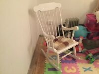 White Rocking chair with cushion