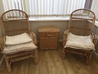 Wicker chairs and small cabinet for conservatory