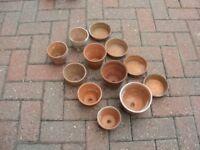 12 x Vintage Clay Pot Pieces - Terracotta Pottery Plant Pots & Small Saucers