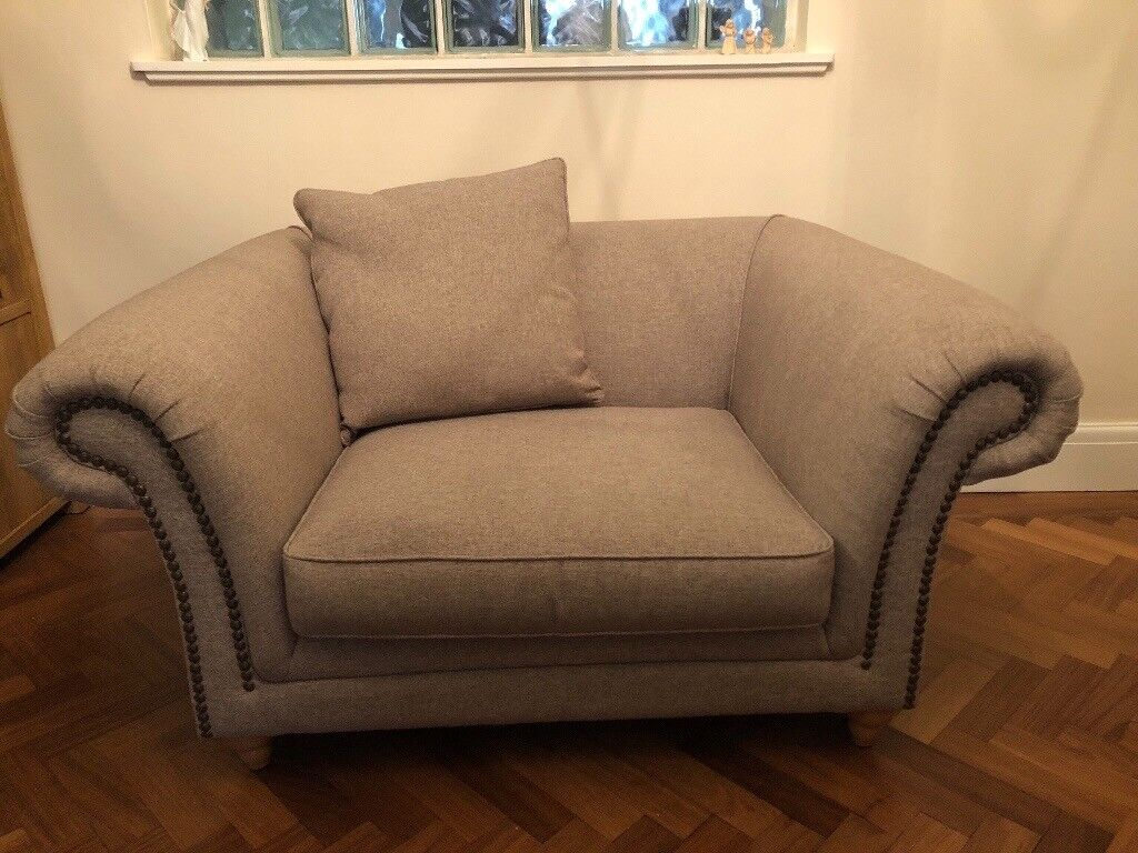 Next Mink Cream Chesterfield 3 Seater Sofa And Snuggle