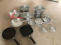 9 piece pots and pans set blue a tefal griddle and frying pan