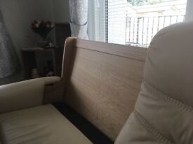 3 Seater leather Sofa in solid oak frame