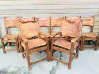 Set of Eight Solid Oak Tan Leather Medieval Dining Chairs