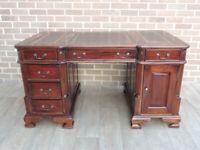 Dark Wooden Partners Desk 3 parts (UK Delivery)