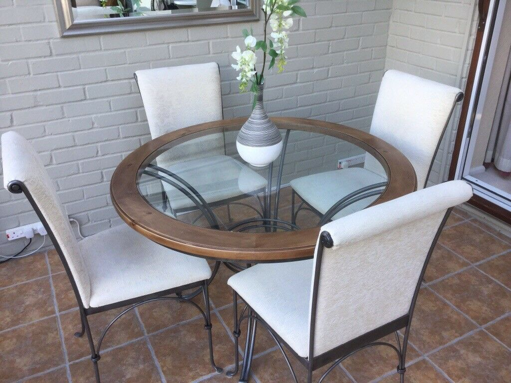 Dining Table Round Gl Wood Wrought Iron Base With 4 Chairs In Bexley London Gumtree