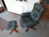 Swivel recliner chair with foot stool