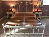 Kingsize iron-framed bed - Original Bedstead Company Carie Low Foot End Bed, cream