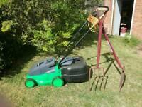Powerbase Electric Lawn Mower, Garden Fork and Shovel