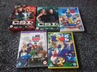 5 dvds for sale CSI &CSI season 3 and 5 Rio 1 and Rio 2 and the Big Bang Theory complete 3rd season
