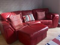 Italian red leather sofa and foot stool