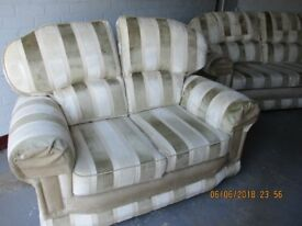 2 &3 seater sofas pale green and cream striped materal.