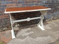 ANTIQUE CAST IRON HEAVY MAHOGANY TOP DINING WORKSTATION DESK TABLE RUSTIC HOME DECOR APARTMENT FAB