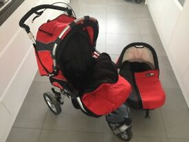 Gorgeous red Jane pram & carry cot for sale!