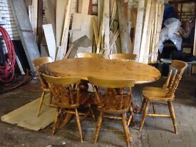 Pine table & 6 chairs Used condition few marks on table