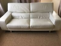 WHITE ITALIAN LEATHER 2.5 seater SOFA - 2yrs OLD! VGC