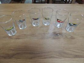 Set of six vintage motoring glasses