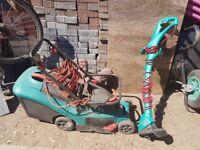 Bosch rotak 34 34cm 1400W lawnmower and strimmer.