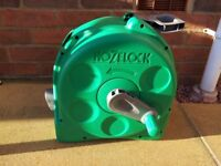 NEW HOZELOCK 25mtr COMPACT HOSE REEL WITH WALL FITTINGS (no hose)