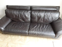 FREE Large comfy 3 Seater brown leather sofa