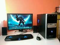 "Intel Quad Core 3.0 GHz Gaming PC + 24"" Monitor, Keyboard, Mouse And Speakers"