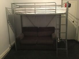 Single High Rise Bed with mattress - silver coloured