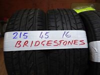 matching set 215 45 16 BRIDGESTONES 6mm TREAD £50 PAIR SUP & FITD £90 SET OF 4(LOADS MORE AV 7-DAYS)