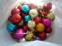 Bag Of Christmas Baubles Tree Decorations Multi Coloured