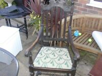 Large Victiorian oak carver chair