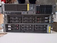 HP Proliant DL380G5 server and 2 x DL380 raid boxes.