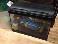 Small Hooded Aquarium with light - 10inch/20inch/12inch deep, heater, filter....