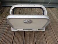 Battery door with frame and 1key for caravan, camper or motorhome.