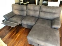 3 seater sofa with chaise lounge, recliner and storage