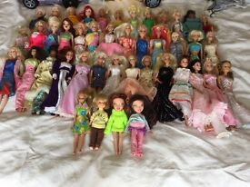 Various Barbie/ Cindy/ Bratz Dolls with Horses, Trailer and Clothes.