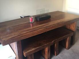 Beautiful Indian hardwood table and 4 x bench seats