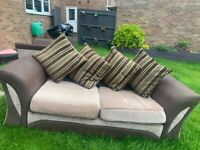 Brown and beige fabric sofa 2 seater and an arm chair