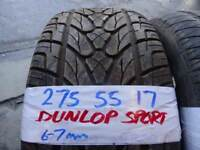 MATCHING 275 55 17 MERC ML TYRES DUNLOP SPORTS 6-7MM TREAD £40 EACH SUP & FITD 7-DAYS *PUNCTURES £8