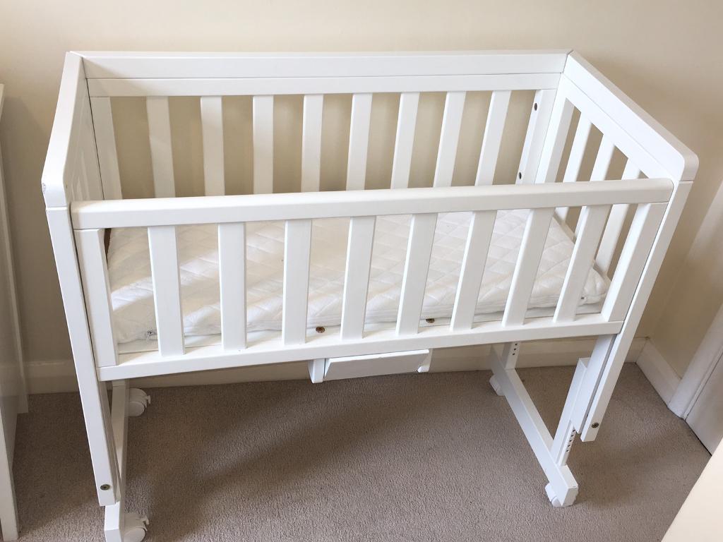 Baby cribs john lewis - John Lewis Troll Bedside Crib Co Sleeper Cot White Mattress 2 Sheets In Guildford Surrey Gumtree