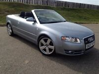 Audi A4 SLine 2.0 Auto Convertible 2007 Low Miles 80k FSH Long MoT No Advisories