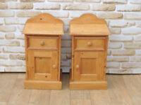 Pair of Welsh pine tall bedsides (delivery)