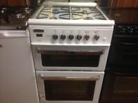 White 60cm gas cooker with fan oven