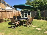 Solid teak 6 seater table and chairs